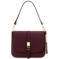 Tuscany Leather TL141598 Nausica Leather Shoulder Bag Bordeaux | Genuine Leather Bags | Australia