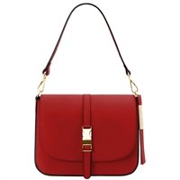 Tuscany Leather TL141598 Nausica Ruga Leather Shoulder Bag Red