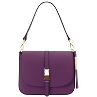 Tuscany Leather TL141598 Nausica Ruga Leather Shoulder Bag Purple