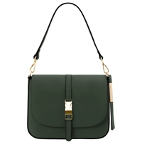 Tuscany Leather TL141598 Nausica Ruga Leather Shoulder Bag Green
