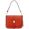 Tuscany Leather TL141598 Nausica Ruga Leather Shoulder Bag Brandy