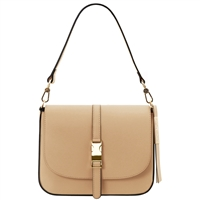 Tuscany Leather TL141598 Nausica Ruga Leather Shoulder Bag Champagne | Australia