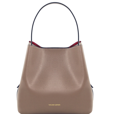 TL1411613 Saffiano Leather Bucket Bag with inside clutch by Tuscany Leather in Taupe