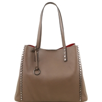 TL141624 Soft Leather Shopping Bag- Taupe