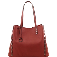 TL141624 Soft Leather Shopping Bag- Red