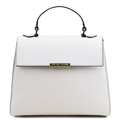 TL141628 Small Saffiano Leather Duffel Bag in White by Tuscany Leather