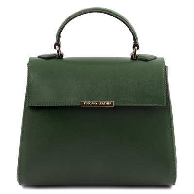 TL141628 Small Saffiano Leather Duffel Bag in Green by Tuscany Leather