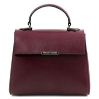 TL141628 Small Saffiano Leather Duffel Bag in Bordeaux by Tuscany Leather | Handbags Australia