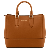 Tuscany Leather TL141638 Saffiano Leather Handbag - Cognac