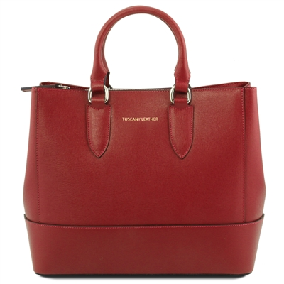 Tuscany Leather TL141638 Saffiano Leather Handbag - Red