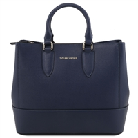 Tuscany Leather TL141638 Saffiano Leather Handbag - Blue