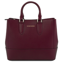 Tuscany Leather TL141638 Saffiano Leather Handbag - Bordeaux