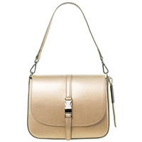 Tuscany Leather TL141642 Nausica Ruga Leather Shoulder Bag in Metallic Gold
