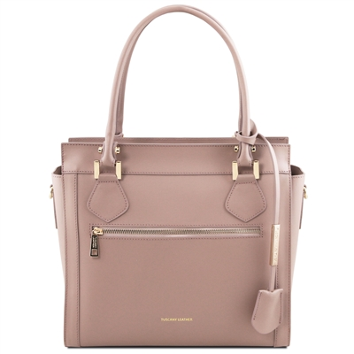 TL141644 Lara Leather Handbag - Nude by Tuscany Leather