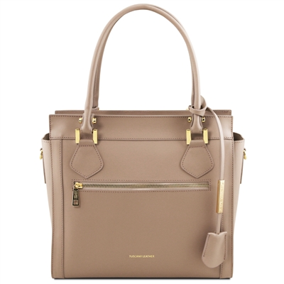 TL141644 Tuscany Leather Lara Leather Handbag - Light Taupe