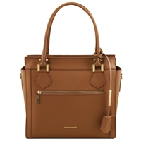 TL141644 Lara Leather Handbag - Cognac by Tuscany Leather