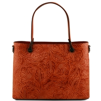 Tuscany Leather TL141655 Atena Leather Tote - Brandy