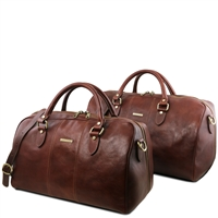 Tuscany Leather TL141659 Lisbona Leather Duffel Bag Set