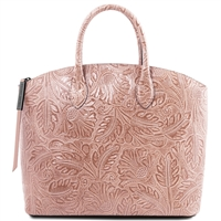 TL141670 Gaia Leather Tote with Floral Pattern Nude