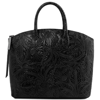 TL141670 Gaia Leather Tote with Floral Pattern Black