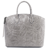 TL141670 Gaia Leather Tote with Floral Pattern Grey