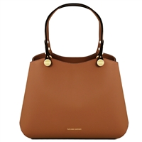 TL141684 Anna Leather Handbag by Tuscany Leather Cognac