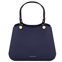 Tl141684 Anna Leather Handbag By Tuscany Dark Blue