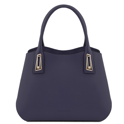 TL141694 Flora Leather Handbag by Tuscany Leather Dark Blue