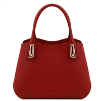 TL141694 Flora Leather Handbag by Tuscany Leather Red