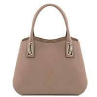 TL141694 Flora Leather Handbag by Tuscany Leather Taupe