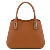 TL141694 Flora Leather Handbag by Tuscany Leather Cognac