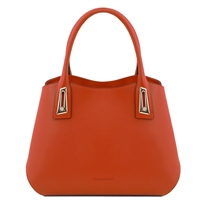 TL141694 Flora Leather Handbag by Tuscany Leather Brandy