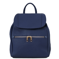TL141697 Leather Backpack by Tuscany Leather Dark Blue