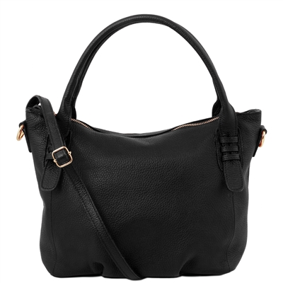 TL141705 Soft Leather Handbag - Black by Tuscany Leather