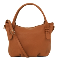 TL141705 Soft Leather Handbag - Cognac by Tuscany Leather