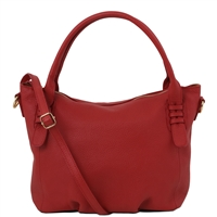 TL141705 Soft Leather Handbag - Red by Tuscany Leather