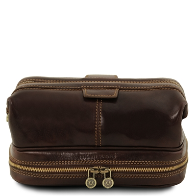 Tuscany Leather TL141717 Patrick Toiletry Bag - Dark Brown