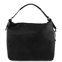 TL141719 Soft Leather Hobo Bag Black by Tuscany Leather