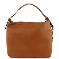 Tuscany Leather Bag TL141719 Soft Leather Hobo Bag - Cognac