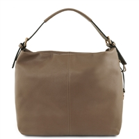 Tuscany Leather Bag TL141719 Soft Leather Hobo Bag - Taupe | Women's Bags | Australia