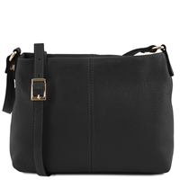 TL141720 Small Soft Black Leather Shoulder Bag Tuscany Leather