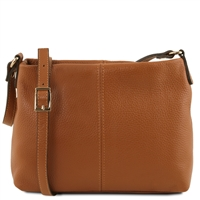 TL141720 Small Soft Cognac Leather Shoulder Bag Tuscany Leather