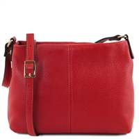 TL141720 Small Soft Red Leather Shoulder Bag Tuscany Leather
