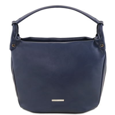 TL141721 Leather Shoulder Bag - Dark Blue- Tuscany Leather Australia
