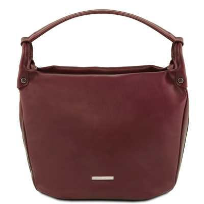 TL141721 Leather Shoulder Bag - Bordeaux - Tuscany Leather Australia