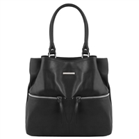 TL141722 Leather Shoulder Bag - Black - Tuscany Leather Australia