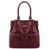 TL141722 Leather Shoulder Bag - Bordeaux- Tuscany Leather Australia