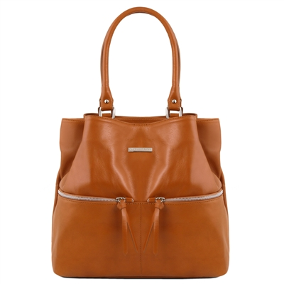 TL141722 Leather Shoulder Bag - Cognac - Tuscany Leather Australia