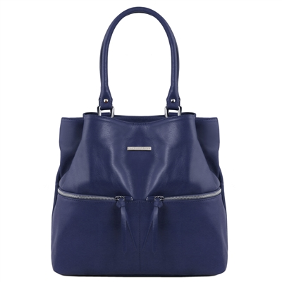 TL141722 Leather Shoulder Bag - Blue- Tuscany Leather Australia