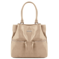 TL141722 Leather Shoulder Bag - Taupe - Tuscany Leather Australia